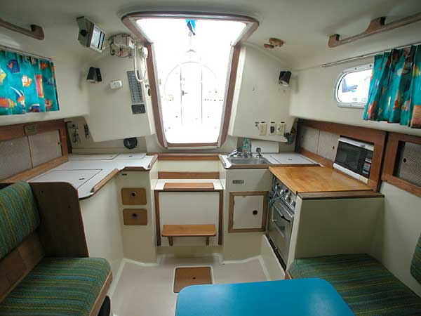 12 Volt outlet Pearson 33 salon looking aft