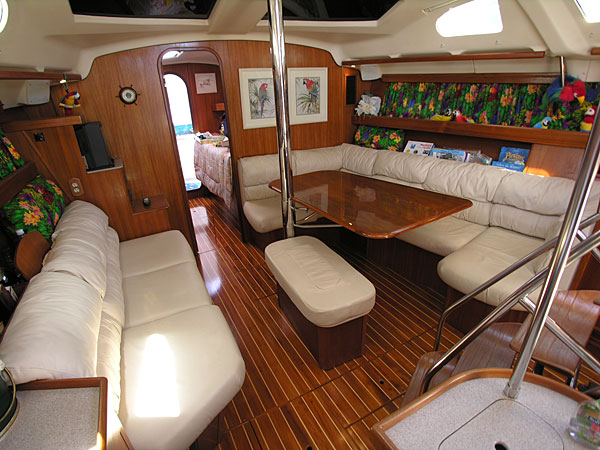 As you enter you are Hunter 450 Passage beautiful salon - click here